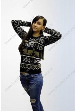 """Moteriškas megztinis """"Poliarinė meška"""" Juodas"""