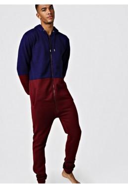 Vyriškas kombinezonas mėlynos ir bordo spalvos